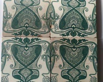 Antique Art Nouveau tiles tile tableau