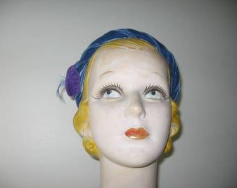 1930's Silk Velvet Calot / Skull Cap, Caroline Reboux Label!