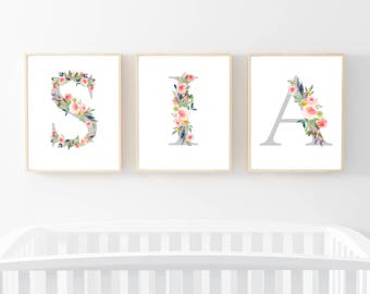 70% OFF SALE Your Choice of Letters, Spell Out A Name, Monogram Name Nursery Prints, Nursery Art, Printable Monogram