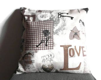 Romantic pillow cover, rustic pillowcase, decorative throw pillow, steampunk style, Valentine gift, Love print pillow, natural colors pillow