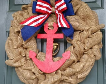 Summer Door Wreath, Anchor Wreath, Burlap Wreath, Nautical Wreath, Beach House