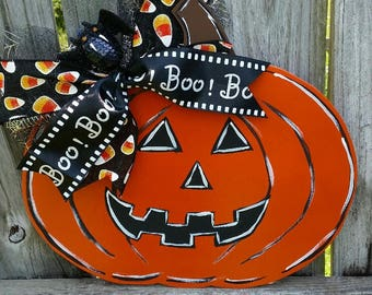 Halloween Door Hanger,  Jack-o-lantern Door Hanger,  Halloween Decor,  Halloween Wall Decor, Fall Decor, Front Door Fall Decor