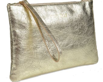 Gold Leather Clutch with Jade or Ruby Satin Lining
