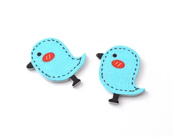 Set of 2 wooden bird embellishments