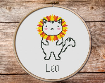 Leo-zodiac sign, Leo Cross Stitch, Cute Zodiac Cross Stitch, kawaii leo, cute cross stitch, kawaii cat cross stitch pattern, leo