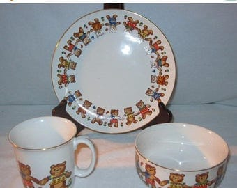 40% Vintage Childs Tableware Dinnerware Dish Set - Teddy Bears - Action Japan - 3 Pc