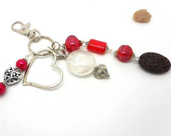 A scent! heart bag charm red tone glass beads