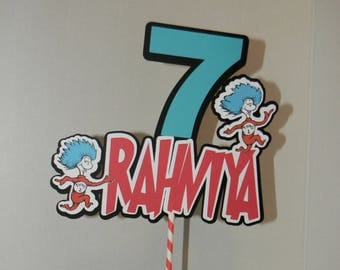 Dr. Seuss Birthday Cake Topper . Dr. Seuss Centerpieces, Dr. Seuss Table Decorations, Cat in the hat. Thing 1 thing 2