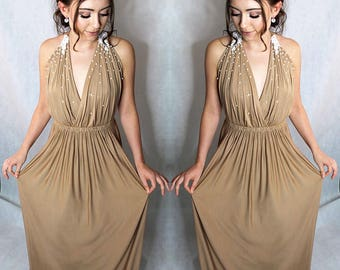 Beige Prom dress, Evening dress, Beaded dress-Made To Order-any colour