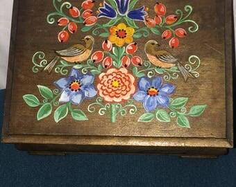 Handpainted Wooden Jewelry/Storage Box; Exquisitely Designed Wooden Box featuring Handpainted Birds Pattern
