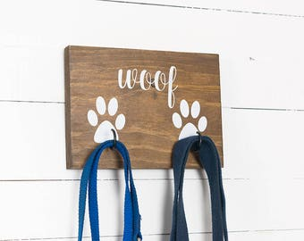 Key Hook, Dog Leash Holder, Dog Lovers, New Puppy Gift, Entryway Organizer, Farmhouse Decor, Rustic Decor, Dog Decor