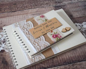 Vintage Rose Burlap Wedding Guest Book with Ivory Lace & Wooden Hearts - Handmade and Personalised