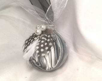 Black and White  Marble Swirl Acrylic Pour Painted Glass Christmas Ornament Feathers Pearls Ribbon
