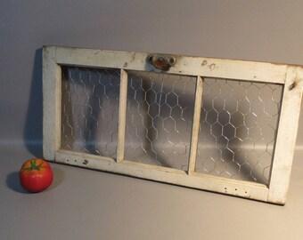1790 Farmhouse Cellar 3 Pane Window w/Chicken Wire Repurposed For Wall Decor Use