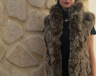 New Natural Real Olive color Fox Fur vest!