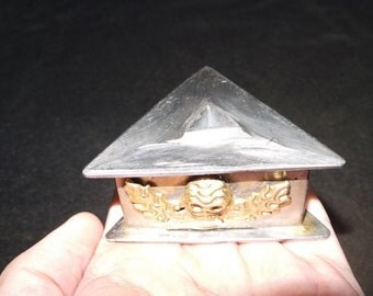 Nepal Tibet Buddhist Copper Gilt Skull Phurba Dagger Seat Stand