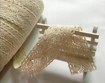 10 Yards Beige Ivory White Lace Trim Cotton Crochet Vintage Lace Trim 4cm
