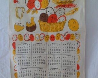 Vintage 1975 Calendar Tea Towel Wall Hanging Anthropomorphic Eggs Chicken 16 1/2 x 27 3/4 Linen Signed HBI 1973