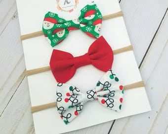 Christmas nylon headband set - christmas bows - holiday bows - nylon headbands - baby girl headbands - santa bow - red bow - light bow - bow