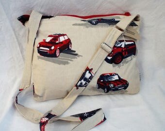 Mini car messenger bag, Mini's, fabric bag, messenger. across body bag, shoulder bag  mm0060