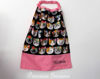 Canteen, birthday, mother * napkin, bib, canteen with elastic at the neck - cotton floral cats to order