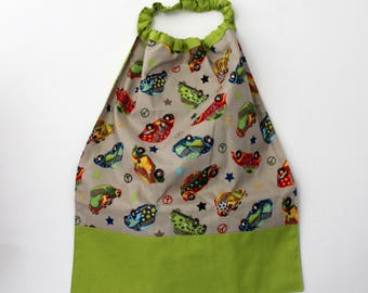 Canteen, school, birthday * napkin, bib, canteen, with elastic at the neck, cotton, multico cars, in stock