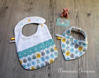 Set of 2 double bibs, cotton Terry, owls, stars
