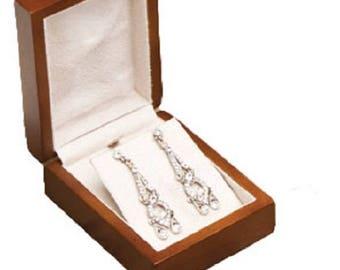 Classic Premium Brown Hardwood Pendant & Earring Box Jewelry New