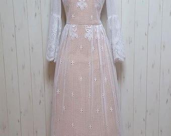 Vintage 70s white crochet lace wedding dress