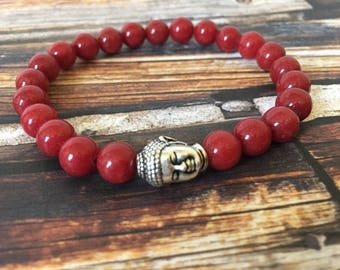 Red Mountain Jade  Buddha Bracelet, Yoga Bracelet, Spiritual Bracelet, Gifts for Her, Red Bracelets, Spiritual Jewelry, Meditation Bracelet