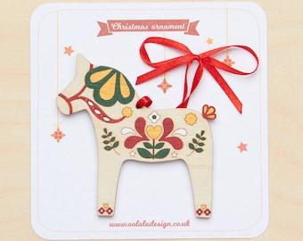 Dala horse Christmas tree ornament, Christmas decoration, Christmas dala horse, Dala horse ornament, Scandinavian design, Swedish Dala horse