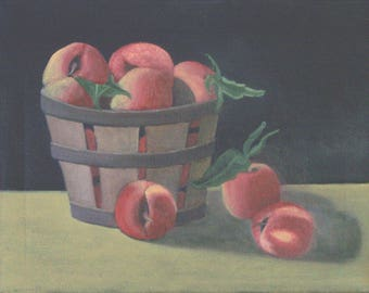 "Basket of Peaches"",  11 x 14 inches, original oil painting on canvas"