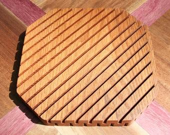 "Red Oak ~8"" Wood Trivet, Multiple Species Available, Hot Plate, Wooden Trivet, Home Decor, Table Decor, Decoration, Wood, Handmade"