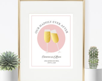 Personalized Wedding Gift, Wedding Art, Champagne Glasses, Our Happily Ever After