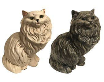 Mid Century Decor | A Set of Vintage Large White & Gray Fluffy Persian Cat Statues | Italian Ceramic Sculpture | Gift for Mother