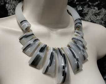 Huge Black and White Horn/Chunks Lucite, Gold Tone Necklace Choker