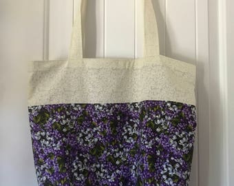Purple Floral with White Reusable Eco Tote Bag