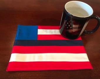 American Flag Blue Line Mug Rug