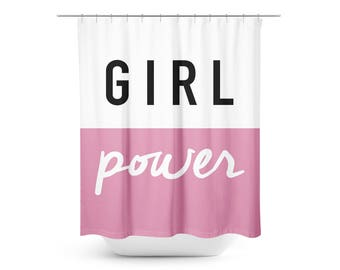 Girl Power Shower Curtain - Bathroom Decor - Girl Bathroom Decor