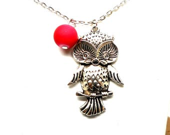 Silver necklace, OWL charm Pink Pearl