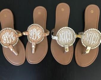 Monogrammed Medallion Sandals/ Medallion Sandals
