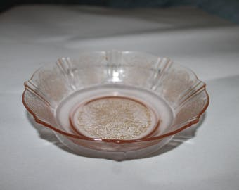 Vintage Fostoria, Depression Glass Pink Rose, Bowl, Gorgeous Candy Dish, or Bowl, Any Use For it, Holiday Parties, Beveled Edges, Collection