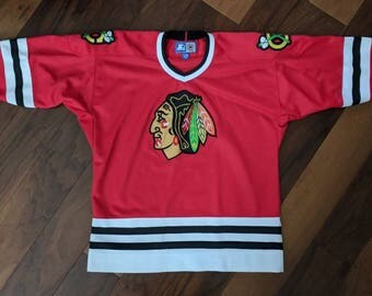 Vtg Chicago, Illinois Blackhawks NHL Hockey Starter Jersey - Size L/XL (Medium Fit) Adult/Children's Unisex - Red/Black/White