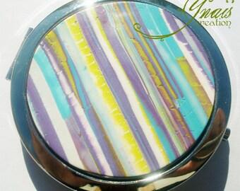 polymer clay striped Pocket mirror