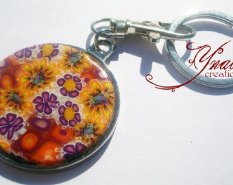 round Fimo flowers keychain or bag charm