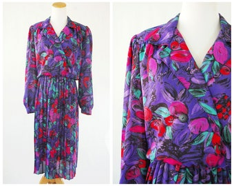 Neon 80's Vintage Dress Padded Shoulders, Bright Colors, Pleated Skirt and long Sleeves
