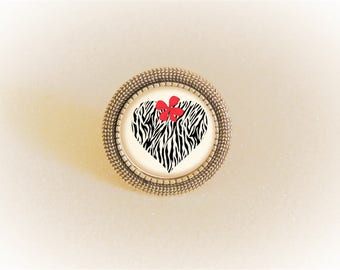 Silver cabochon Adjustable ring patterns heart Zebra and Red bow