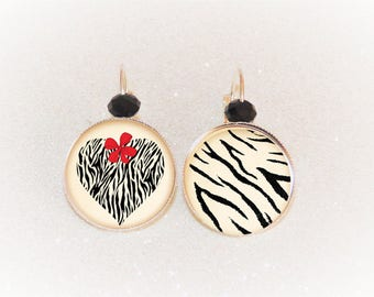 Earrings sleepers silver cabochon motits Zebra heart