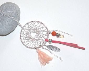 Necklace long dream catcher Dreamcatcher silver/coral pink tones