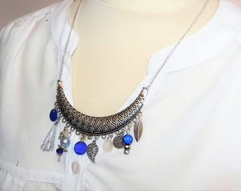 Necklace/Necklace/blue/white tones with beads, tassel charms